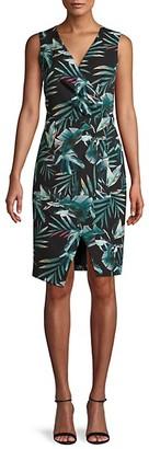 Black Halo Leaf-Print Faux Wrap Dress