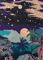 Men's Black 'Luna Hawaiian' Print Silk Pocket Square