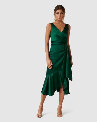 Forever New Gracelyn Satin Wrap Midi Dress