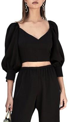 Cult Gaia Debi Puff-Sleeve Cropped Sweater