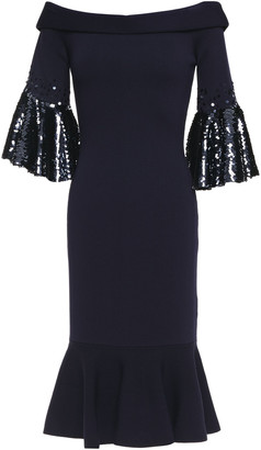 Sachin + Babi Off-the-shoulder Sequin-embellished Knitted Dress