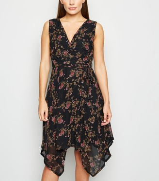 New Look Mela Floral Hanky Hem Midi Dress