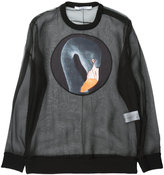 Givenchy flamingo print sheer sweatshirt - women - Silk/Cotton/Polyester/Spandex/Elastane - M