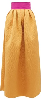 Marta Ferri - Contrast-waistband Cloque-satin Maxi Skirt - Gold