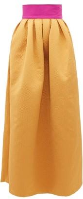 Marta Ferri - Contrast-waistband Cloque-satin Maxi Skirt - Womens - Gold