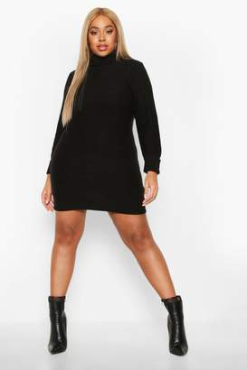 boohoo Plus Rib Knit Roll Neck Jumper Dress