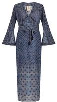 Figue Stevie V-neck bell-sleeved cotton-blend maxi dress