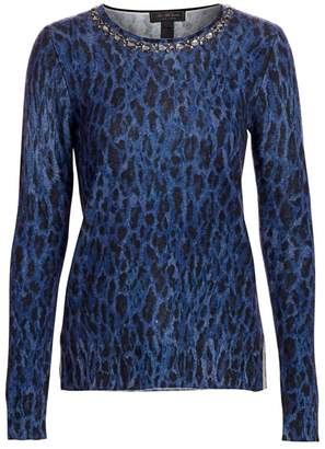 Saks Fifth Avenue Embellished Leopard-Print Cashmere Sweater