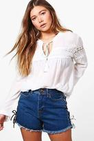 boohoo NEW Womens Violet Woven Crochet Insert Tunic Top in Viscose