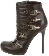 Alexander McQueen Leather Round-Toe Booties