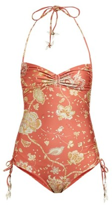 Zimmermann Veneto Paisley-print Ruched Swimsuit - Red