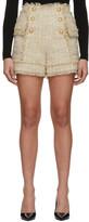 Balmain Beige Tweed Double-Breasted Shorts
