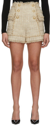 Balmain Beige Tweed Double-Breasted Shorts