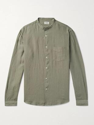 Hartford Grandad-Collar Slub Linen Shirt