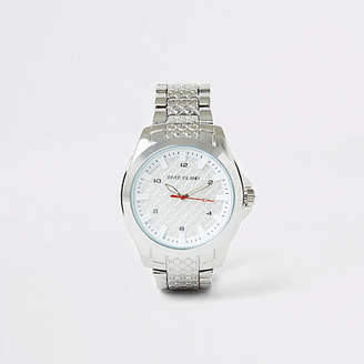River Island Silver colour RI embossed chain link watch