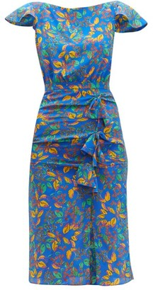 Saloni Heather Berry-print Bow-front Silk Dress - Blue Multi
