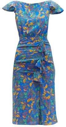 Saloni Heather Berry-print Bow-front Silk Dress - Womens - Blue Multi