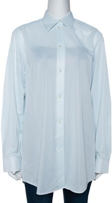 Celine Light Mint Sheer Mesh Button Front Blouse M