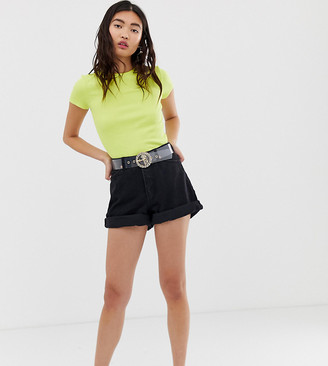 Monki denim mom denim shorts with organic cotton and turn ups in deep black
