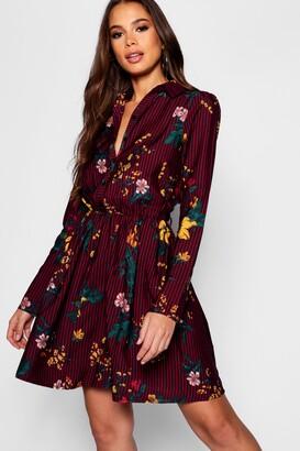 boohoo Tall Stripe Floral Shirt Dress