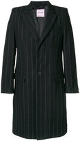 Palm Angels striped single breasted coat