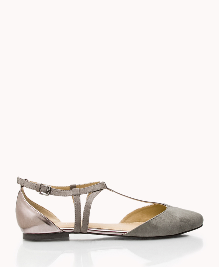 Forever 21 Metallic Colorblocked Flats