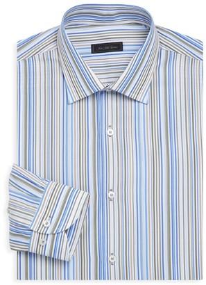 Saks Fifth Avenue COLLECTION Classic-Fit Multi-Stripe Cotton Dress Shirt