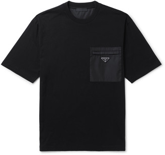 Prada Logo-Appliqued Leather- And Nylon-Trimmed Cotton-Jersey T-Shirt