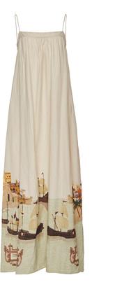 Andres Otalora Coralina Nautical-Print Linen Trapeze Maxi Dress