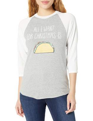 Soffe Women's Funny Novelty Christmas Sloga Raglan-All I Want for Xmas is Tacos Large