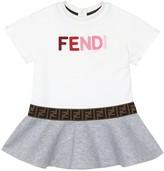Thumbnail for your product : Fendi Kids Baby logo cotton-neoprene dress
