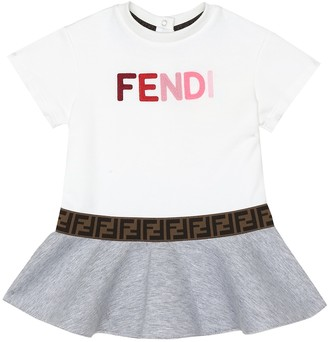 Fendi Kids Baby logo cotton-neoprene dress