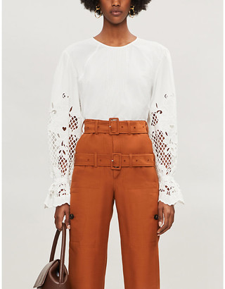 See by Chloe Cutout-sleeve flared-cuff cotton blouse