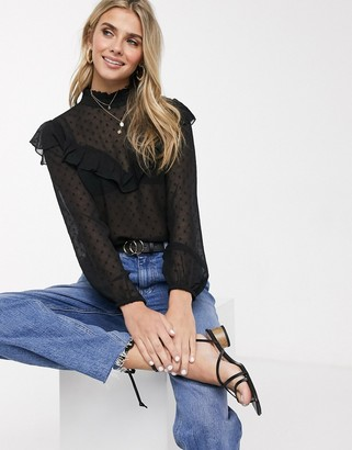 Pimkie dobby frill detail blouse in black