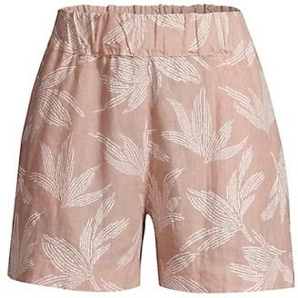 120% Lino Elastic Waist Embossed Floral Shorts