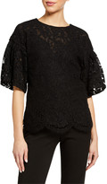 ADAM by Adam Lippes Flutter Sleeve Corded Lace Top
