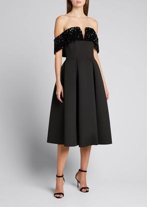 Badgley Mischka Off-Shoulder Sequin-Trim Full-Skirt Scuba Dress