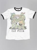 Junk Food Clothing Kids Boys Ninja Turtles Eat Pizza Tee-ew/bw-m