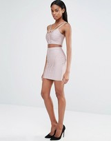 Missguided Ribbed Bandage Skirt