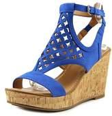 Franco Sarto Cameron Women Open Toe Synthetic Blue Wedge Sandal.