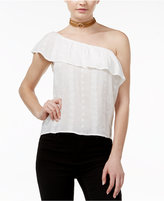 Amy Byer Juniors' One-Shoulder Ruffle Blouse