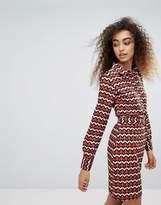 Brave Soul Hilda Shirt Dress In Geo Print