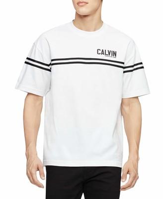 Calvin Klein Jeans Men's Men's Boxy Fit Varsity Logo Crewneck T-Shirt Shirt