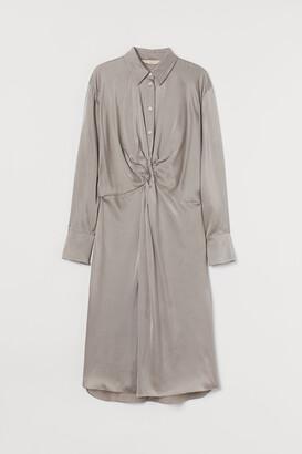 H&M Silk Shirt Dress - Brown
