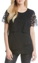 Karen Kane Multilayer Lace & Crepe Top