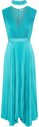 Alice + Olivia Jolene Asymmetric Pleated Satin Midi Dress