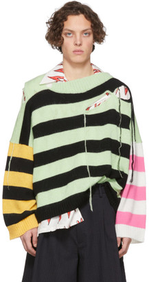 Charles Jeffrey Loverboy Green and Black Slash Stripe Sweater