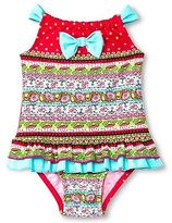 Floatimini Toddler Girls' Floral Border Back Neck Tie Ruffled One-Piece Swimsuit Red