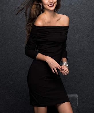 Milan Kiss Women's Casual Dresses BLACK - Black Off-Shoulder Bodycon Dress - Women