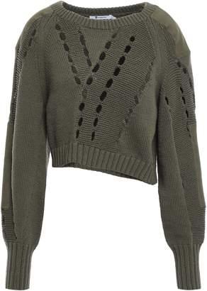 Alexander Wang Cropped Cutout Cotton-blend Sweater